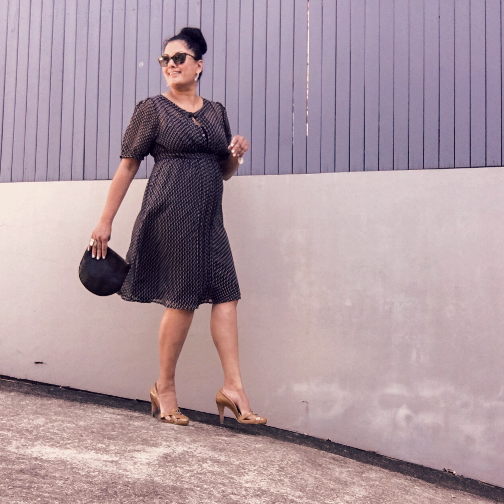 Day one - Friday was a simple classic black and white dressin black and white with black leather clutch and mustard heels.