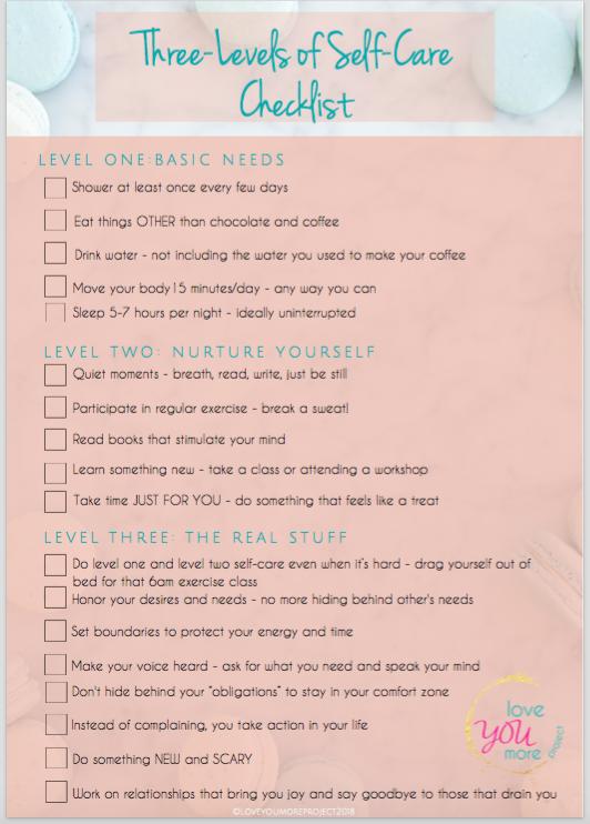 Three Levels of Self Care Checklist