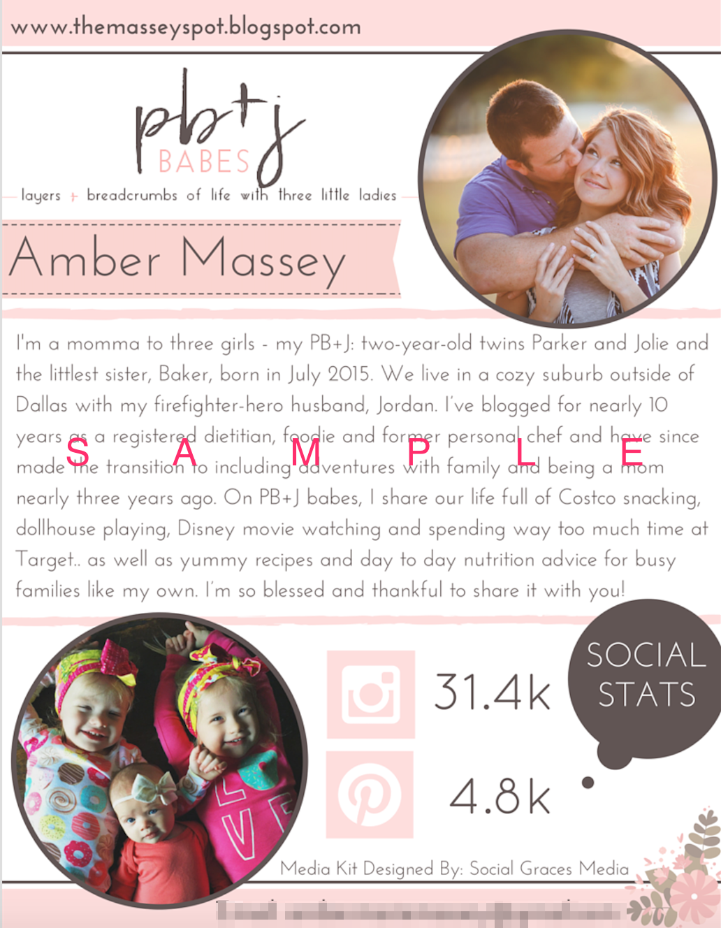 Media Kit Sample (Page 1) -  Designed By Social Graces Media