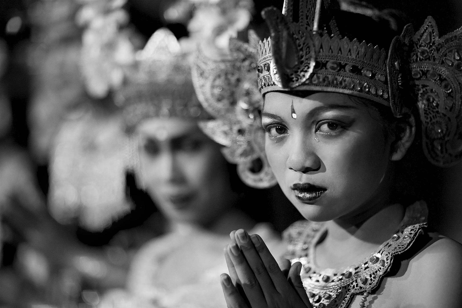 TRAVEL PORTRAIT Story telling, young Balinese temple dancer