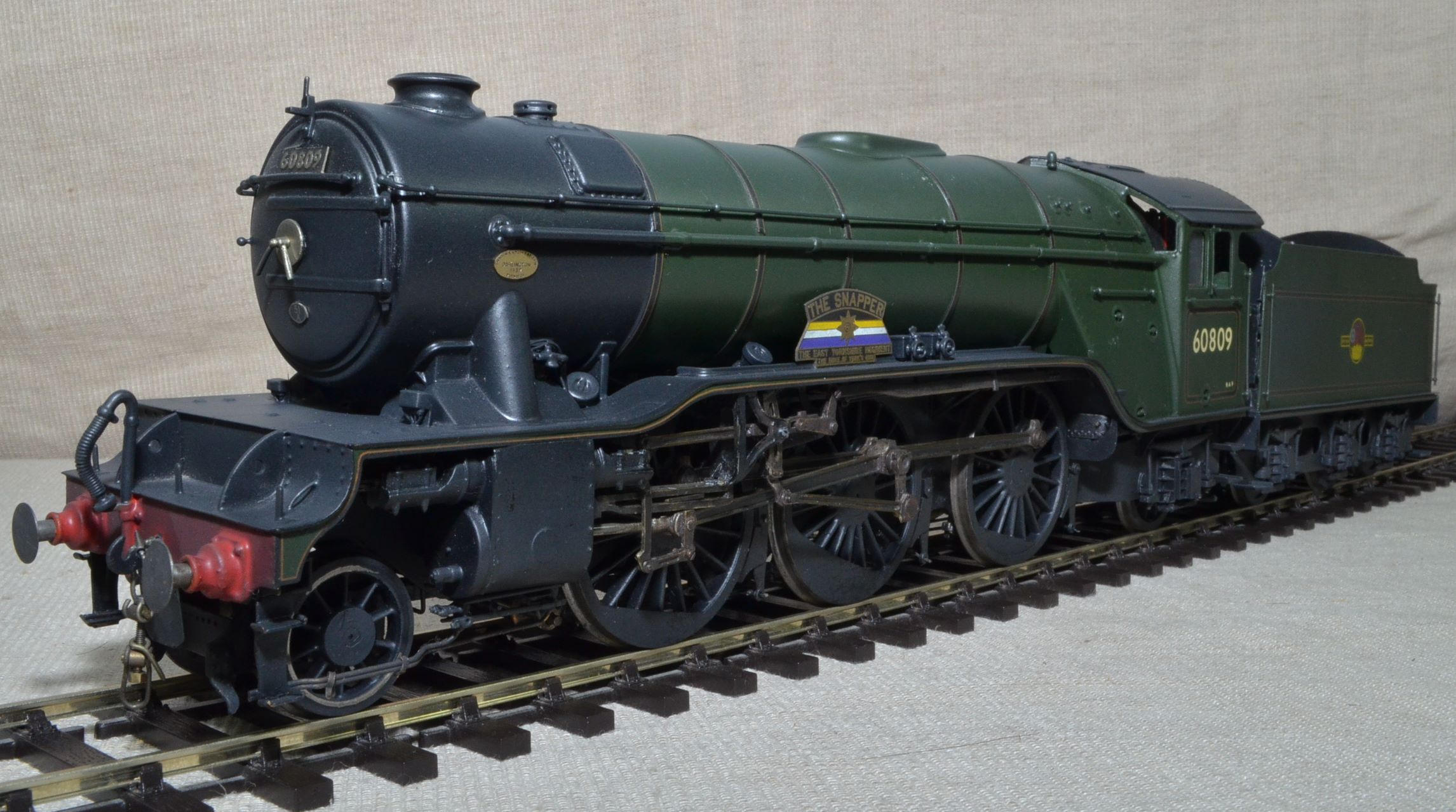 A very good well built older model, almost certainly from a Martin Finney kit, of a BR ex-LNER V2 2-6-2 No. 60809 'The Snapper'. In weathered BR green with late tender crest and shedplate 51A Darlington.