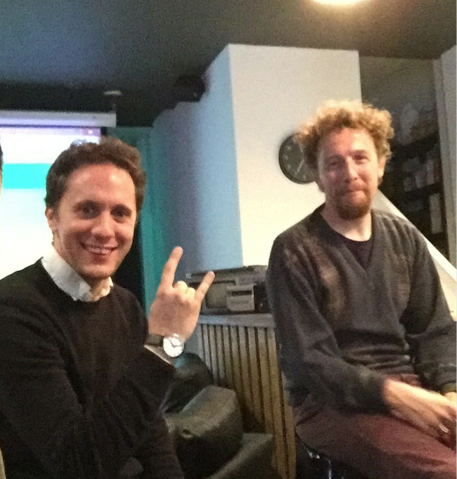 Adam Race (with James Doncaster) doing the internationally recognised symbol for 'Heavy Metal'... and what could be more Heavy Metal than spreadsheets, highlighters and shirt/jumper combos.