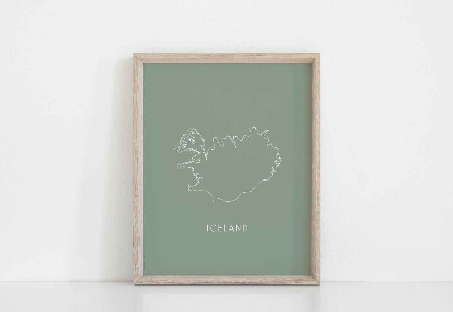ICELAND MAP in Moss Green | Iceland | Ísland | Icelandic Graphics Print | Made in Iceland
