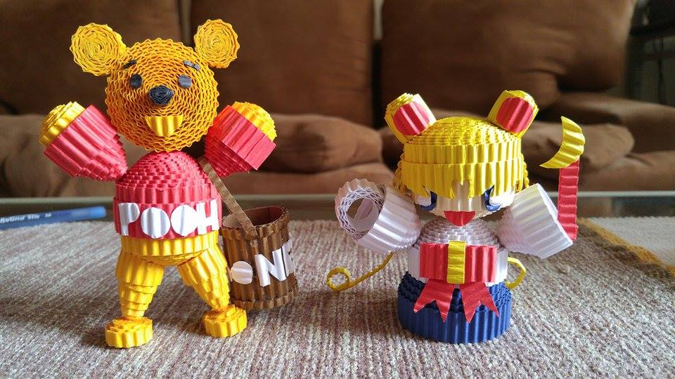 The paper craft power of Pooh and Sailormoon