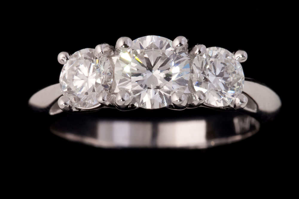 Three Stone Double Bezel Knife Edge Diamond Ring