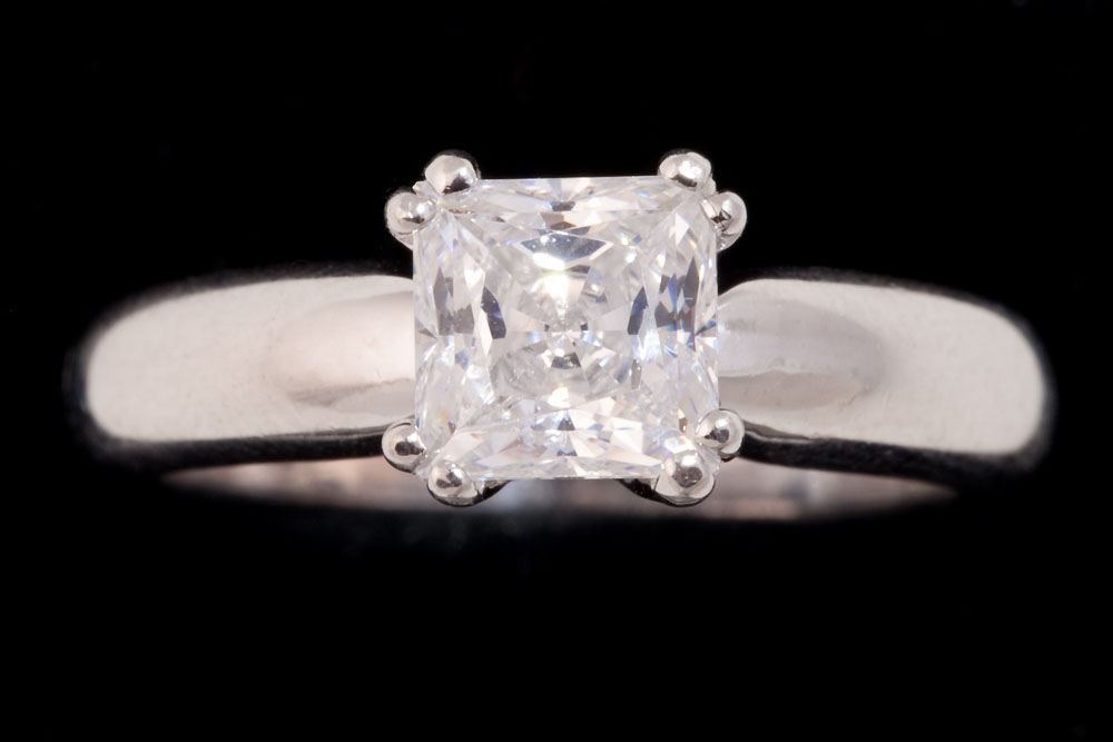 Asscher Cut Solitaire Diamond Ring