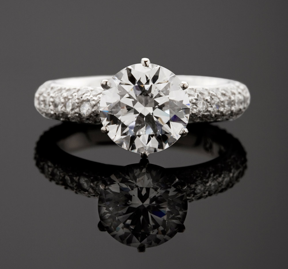 Pave Set Round Cut Diamond Ring