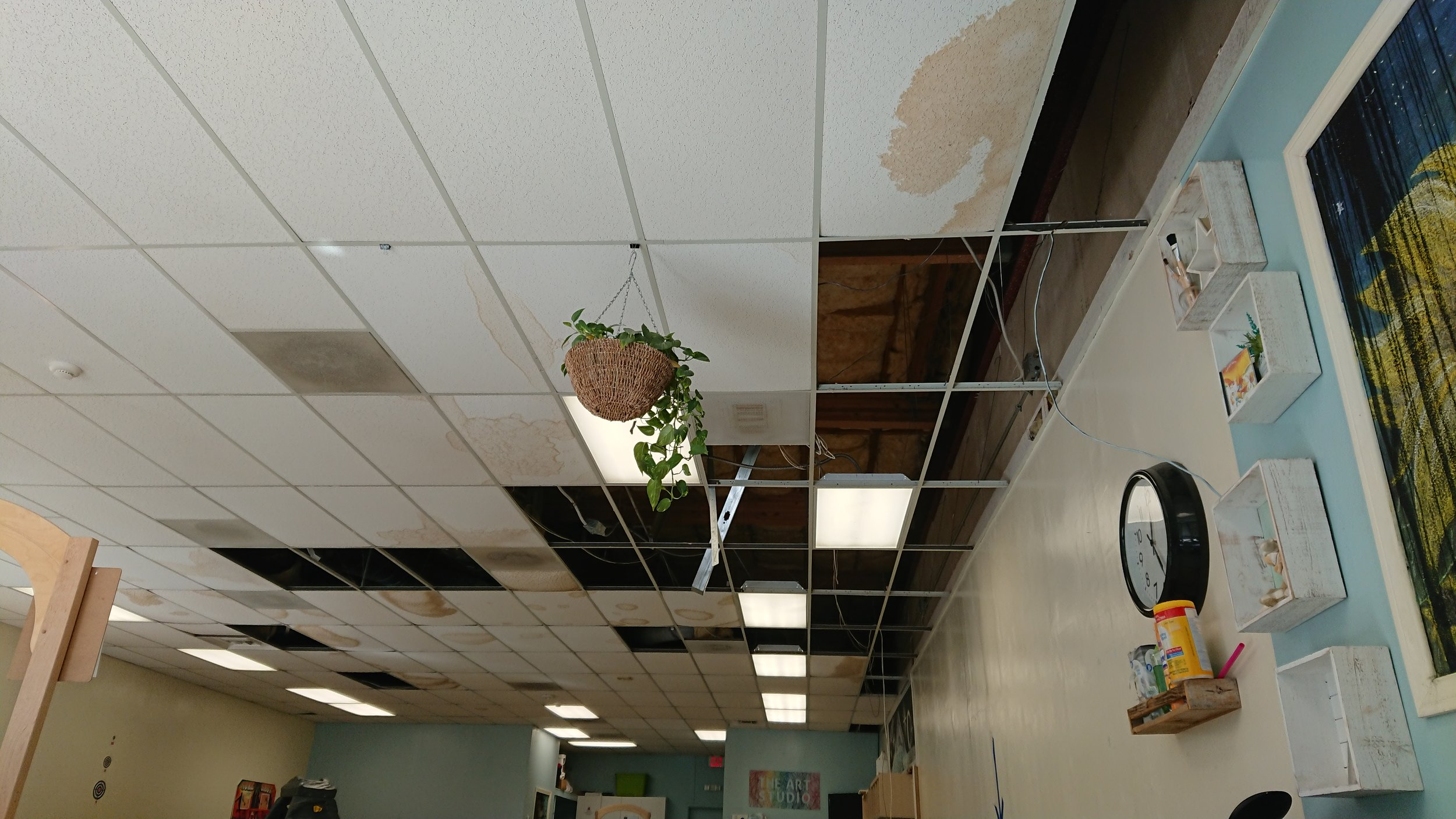 December 13th, this was what was left of the ceiling tiles that didn't crash down