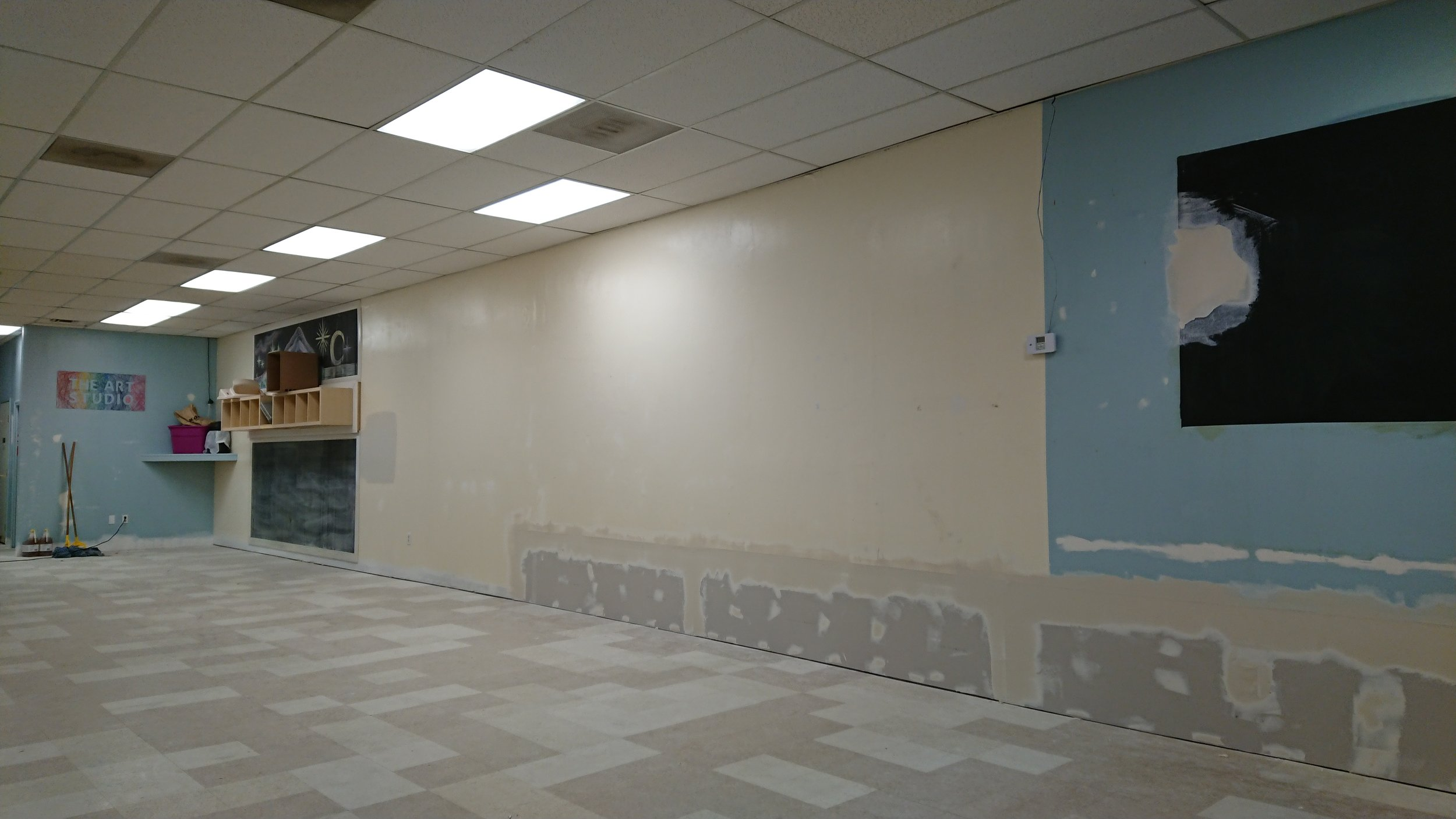 December 21st, drywall almost done, ceiling tiles replaced, and floor is ready to be refinished