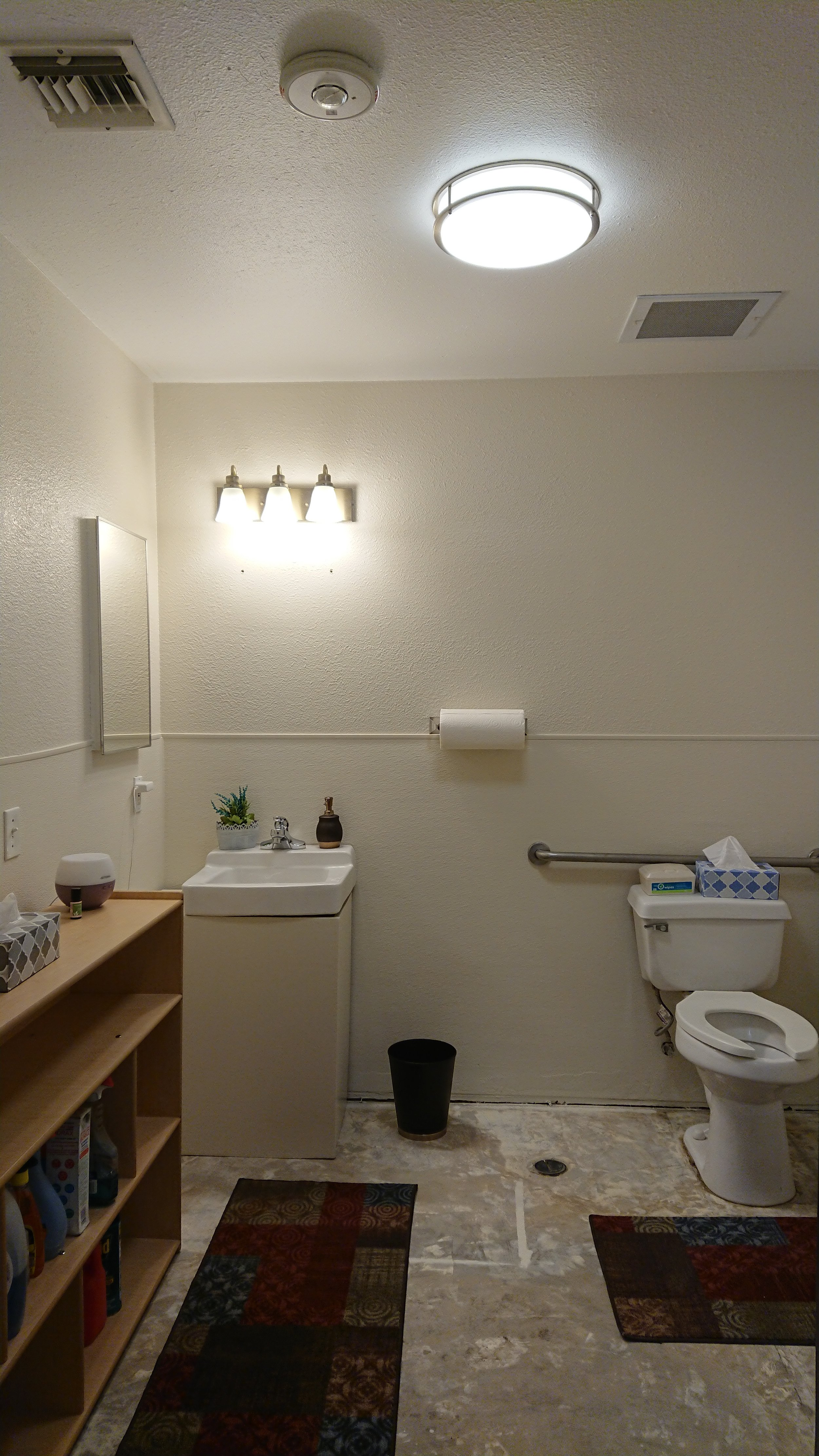 Our staff bathroom got a makeover: new paint, two new light fixtures, and the vanity got painted to match the walls