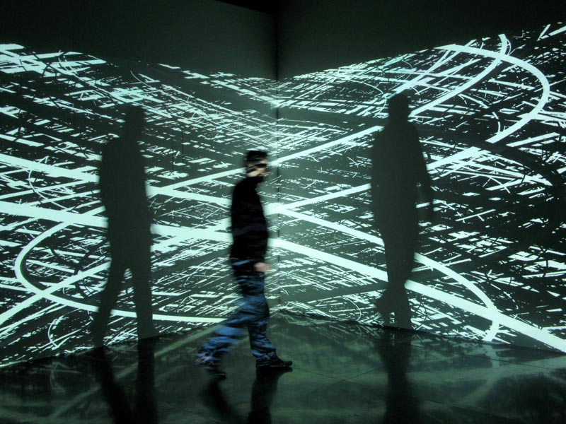 Irrationnal Geometrics digital art installation 2008 by  Pascal Dombis . Public Domain.Wikimedia.