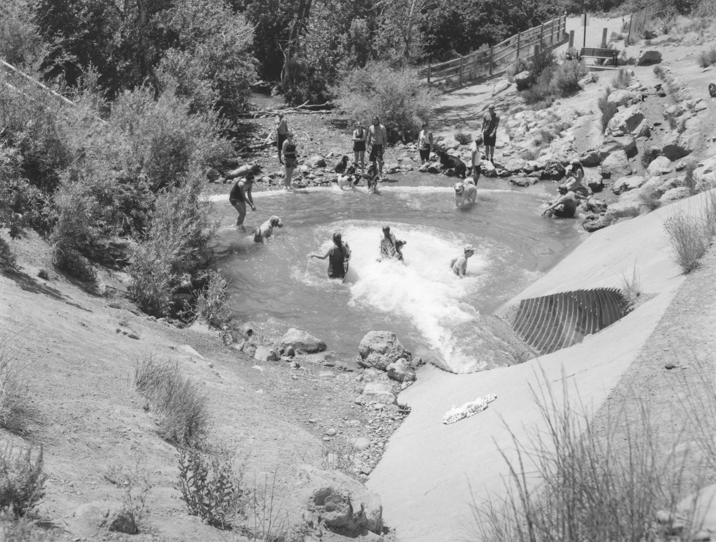 Parley's Creek flows through a culvert into Tanner Park.