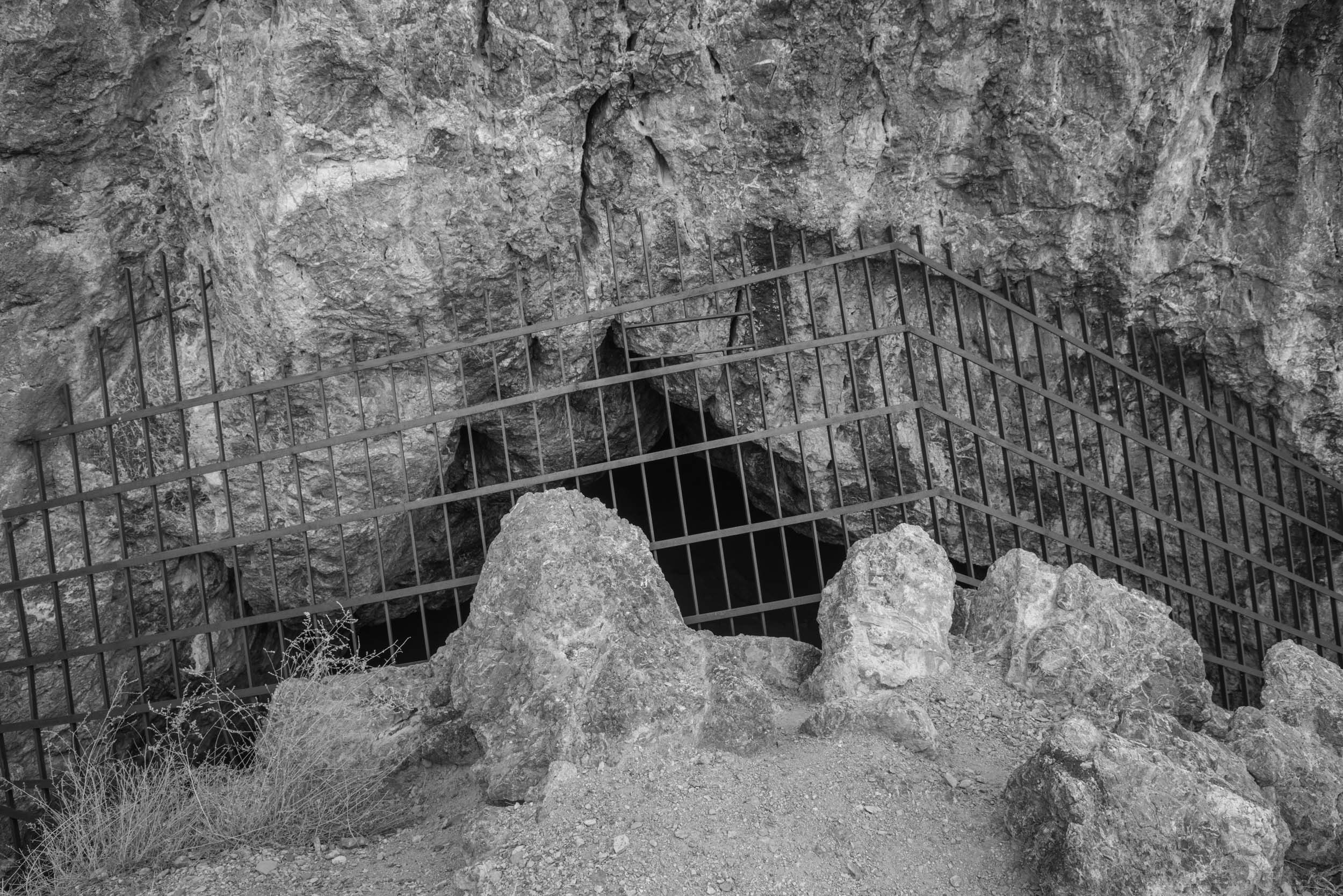 Juke Box Cave is gated off in the Silver Island Range, Wendover, Utah. Post ice-age cave with 12,000 years of human inhabitants.