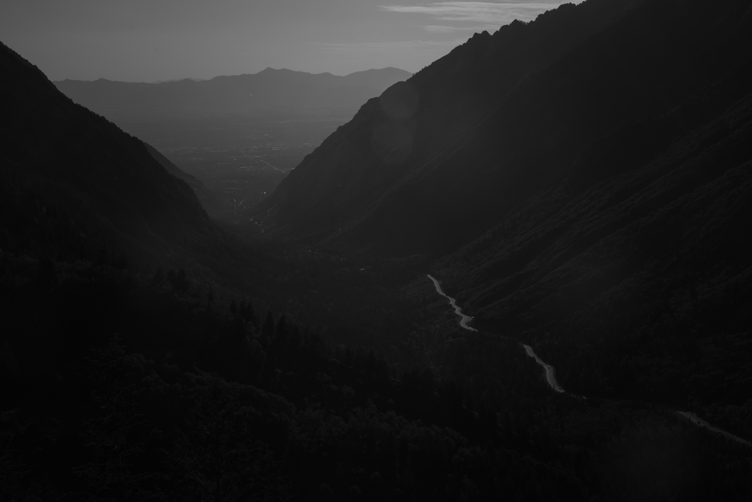 Little Cottonwood Canyon road and the Salt Lake Valley, Utah. Wasatch Range.