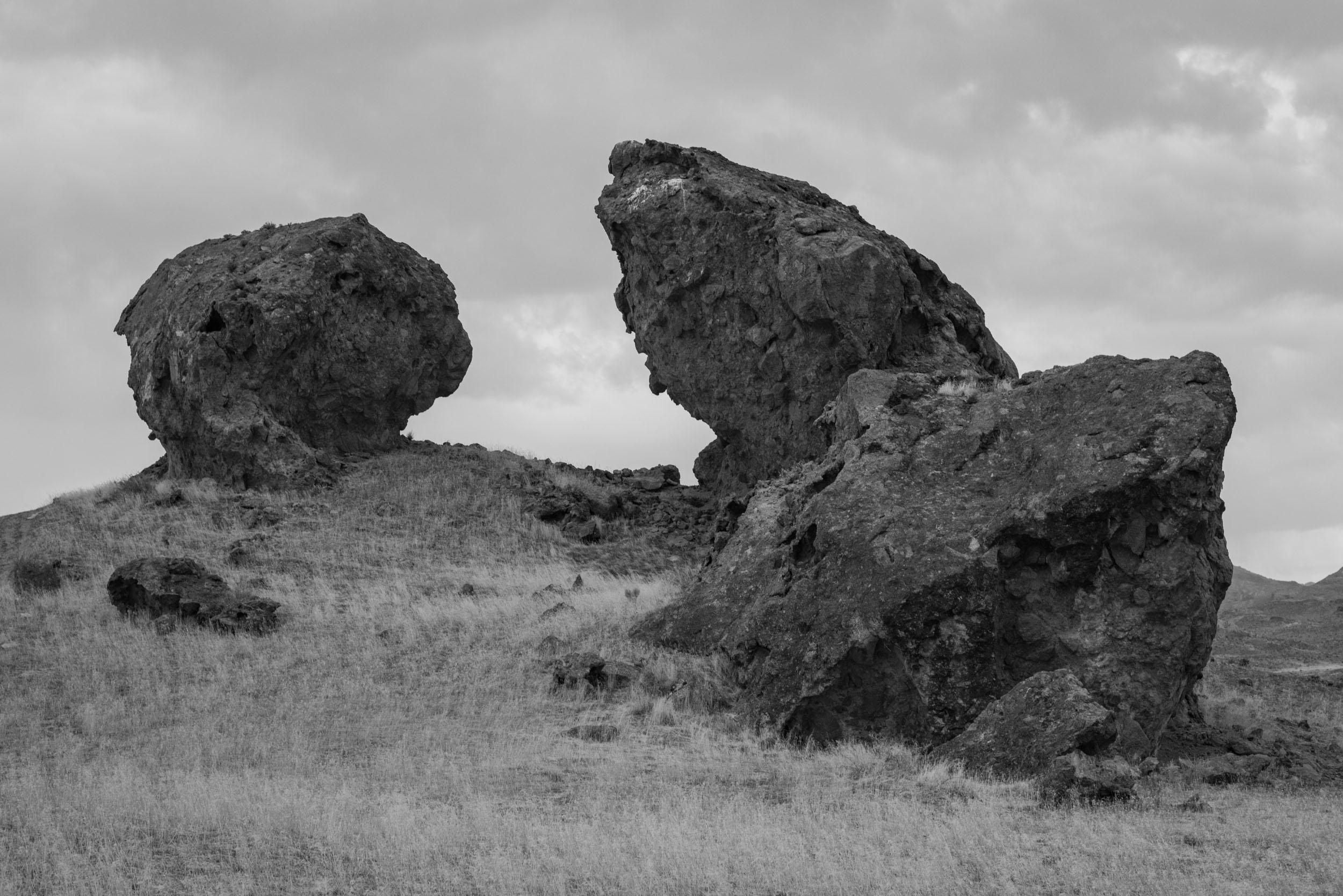 Calcium carbonate tufa deposits coat the shorelines of Pleistocene Lake Bonneville near the west side of the Silver Island Range near the Nevada-Utah border.