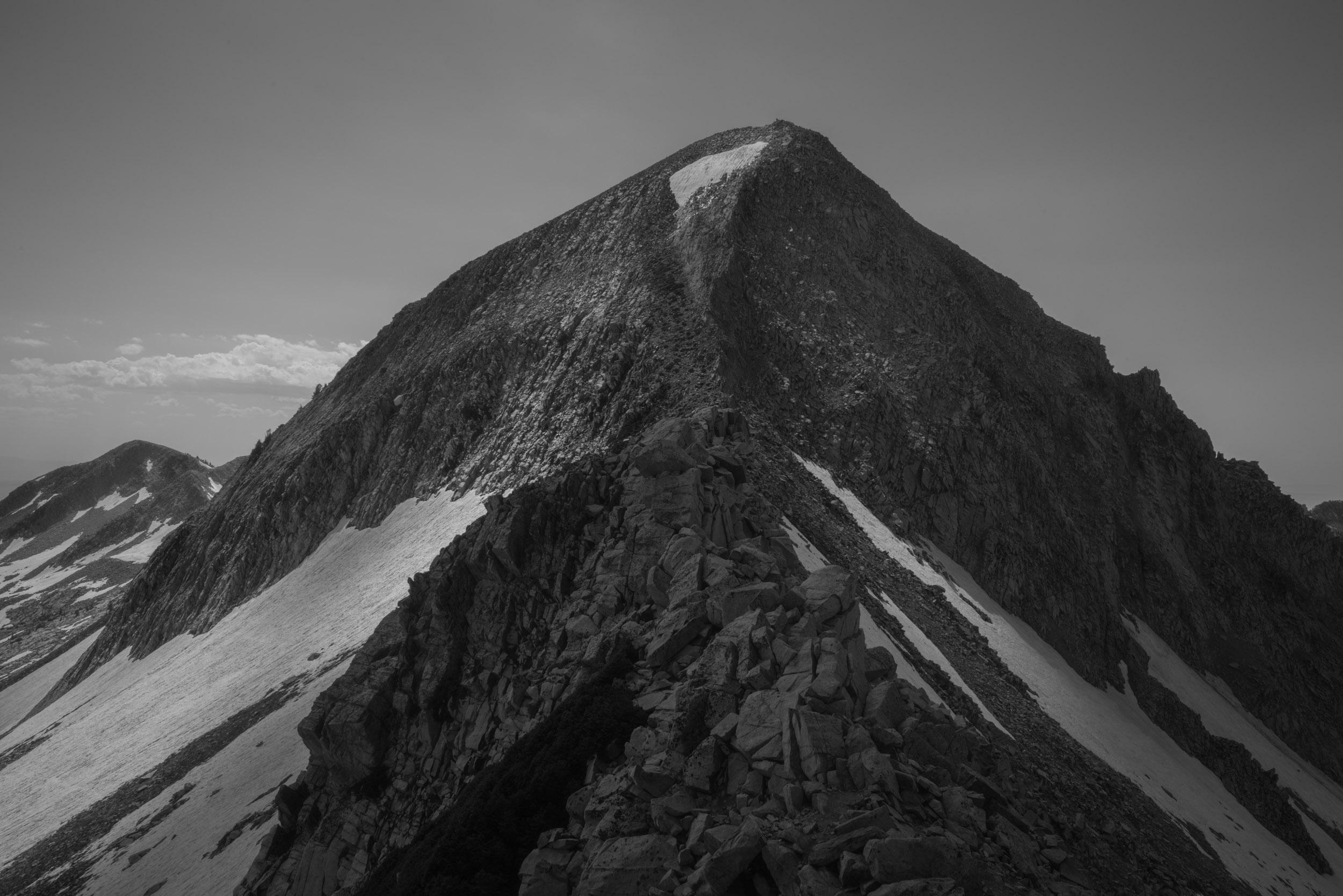 Glaciated granite peak, the Pfeifferhorn, 11,326'. Lone Peak Wilderness, Wasatch Range, Utah.