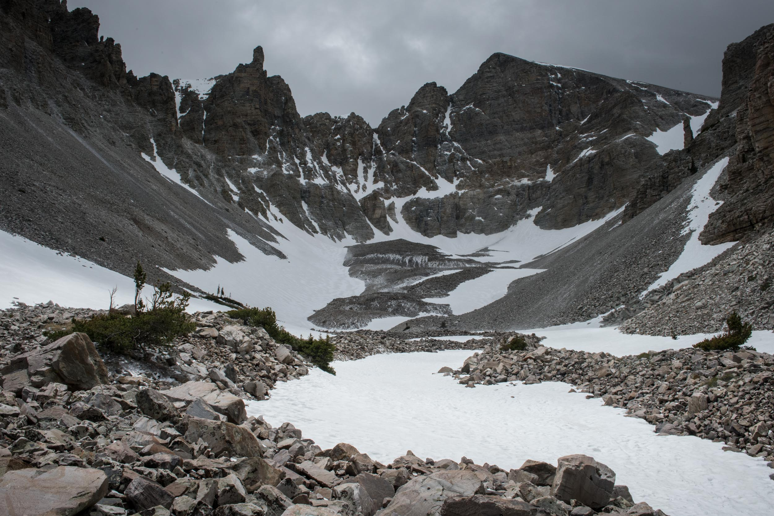 Wheeler Peak, glacier, and cirque in the Great Basin National Park, Nevada.
