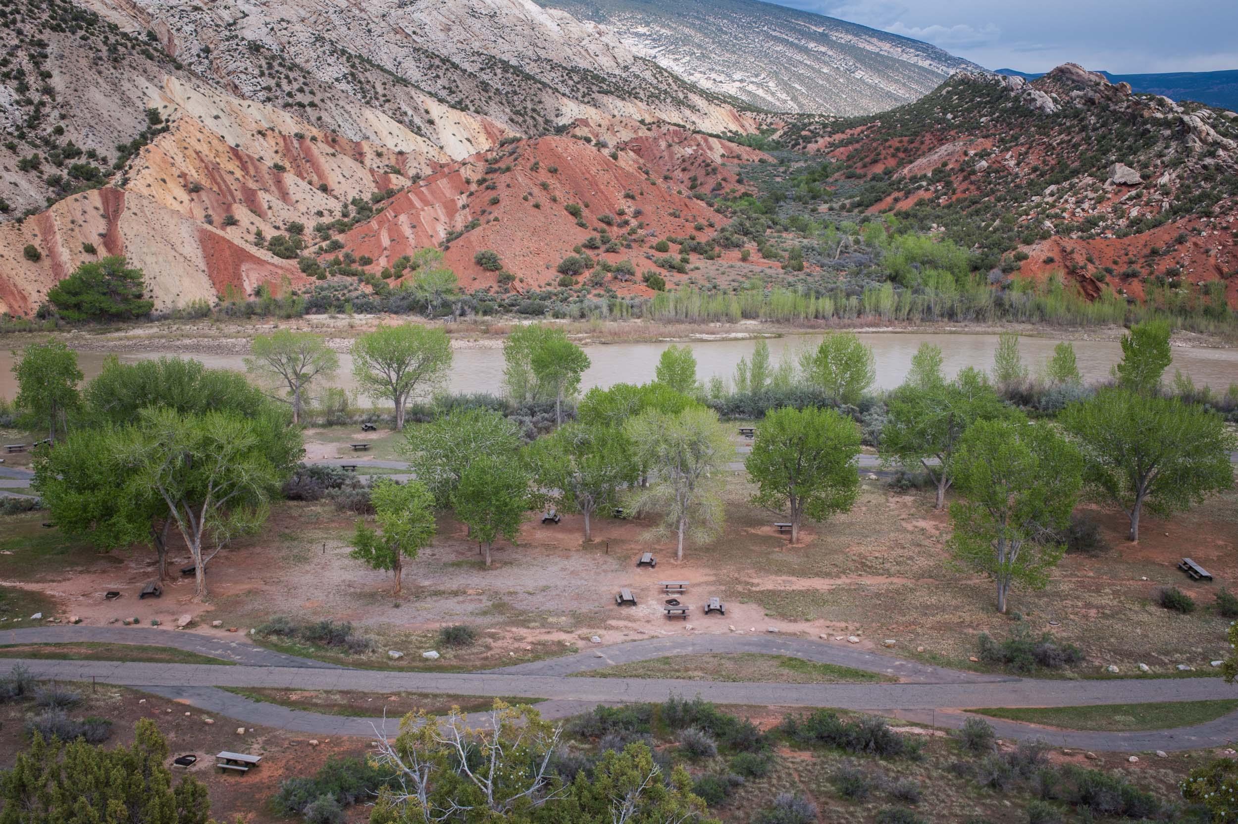 Green River campground, Dinosaur National Monument, Utah.