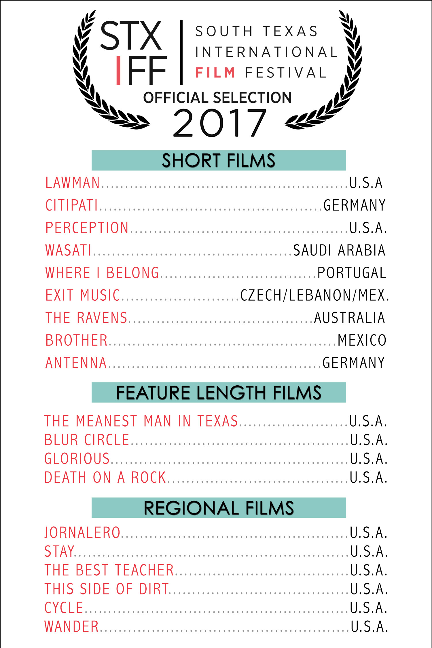 South Texas International Film Festival Official Selections 2017