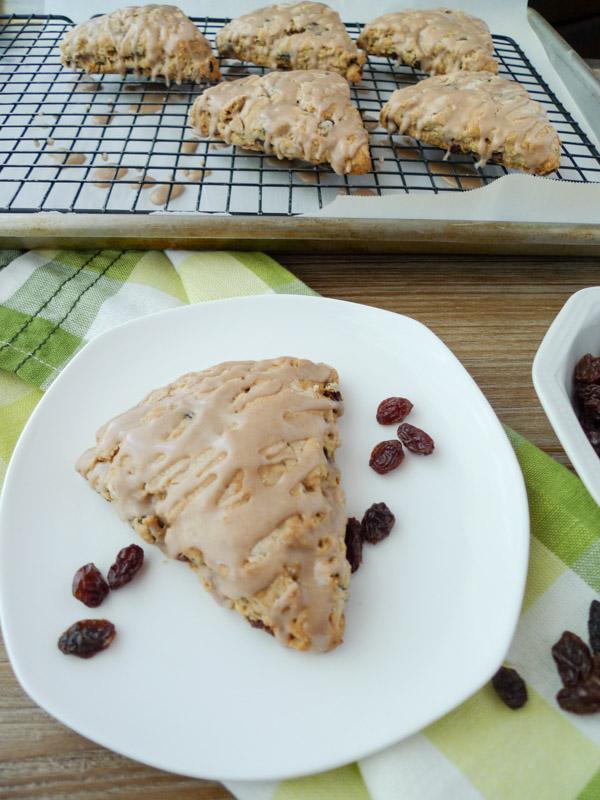 Oatmeal Raisin Scones with Cinnamon Glaze, low-FODMAP, gluten free, dairy free