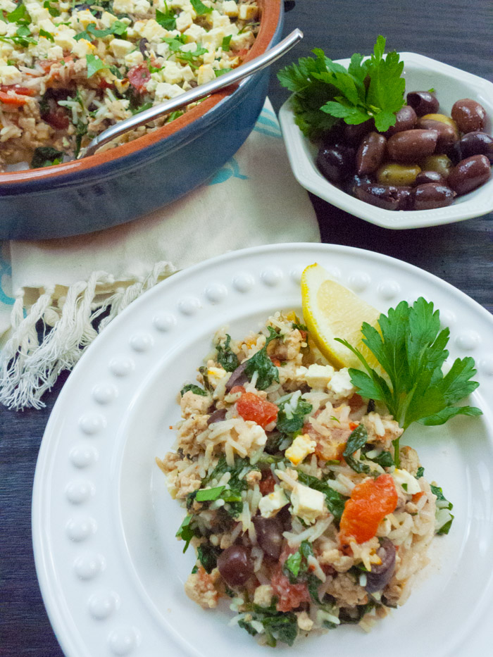 This tasty and hearty low-fodmap casserole uses lean ground turkey. It comes together fast, so it's definitely a contender for weeknight meals. I use quick-cooking basmati rice, but any kind of rice would be great. The feta, olives and creamy sauce add plenty of flavor. Click through to get the recipe for this healthy low-fodmap entree!