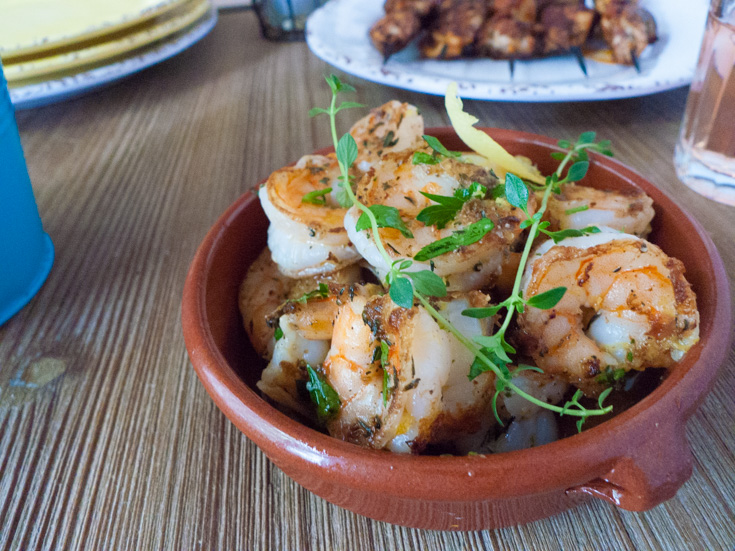 Low FODMAP lemon-garlic shrimp for a Spanish tapas menu.