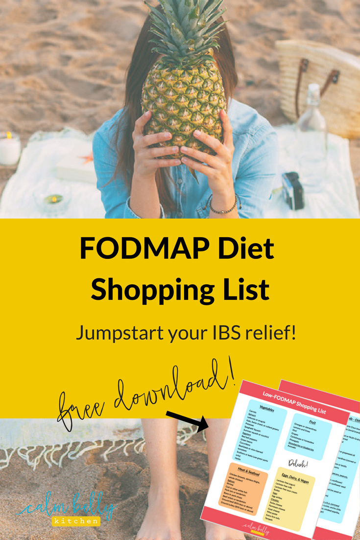 Get started with the FODMAP Diet to relieve IBS symptoms. Download the perfect shopping list for beginners, complete with links to my favorite low-FODMAP recipes. Click through to get it!