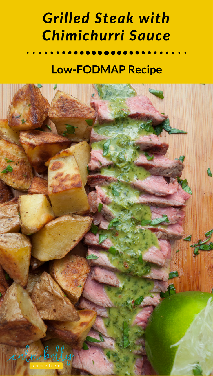 This chimichurri sauce is packed with fresh herbs, bright lime juice, olive oil and a few other flavor boosters. It perks up any low FODMAP meal, especially grilled steak!