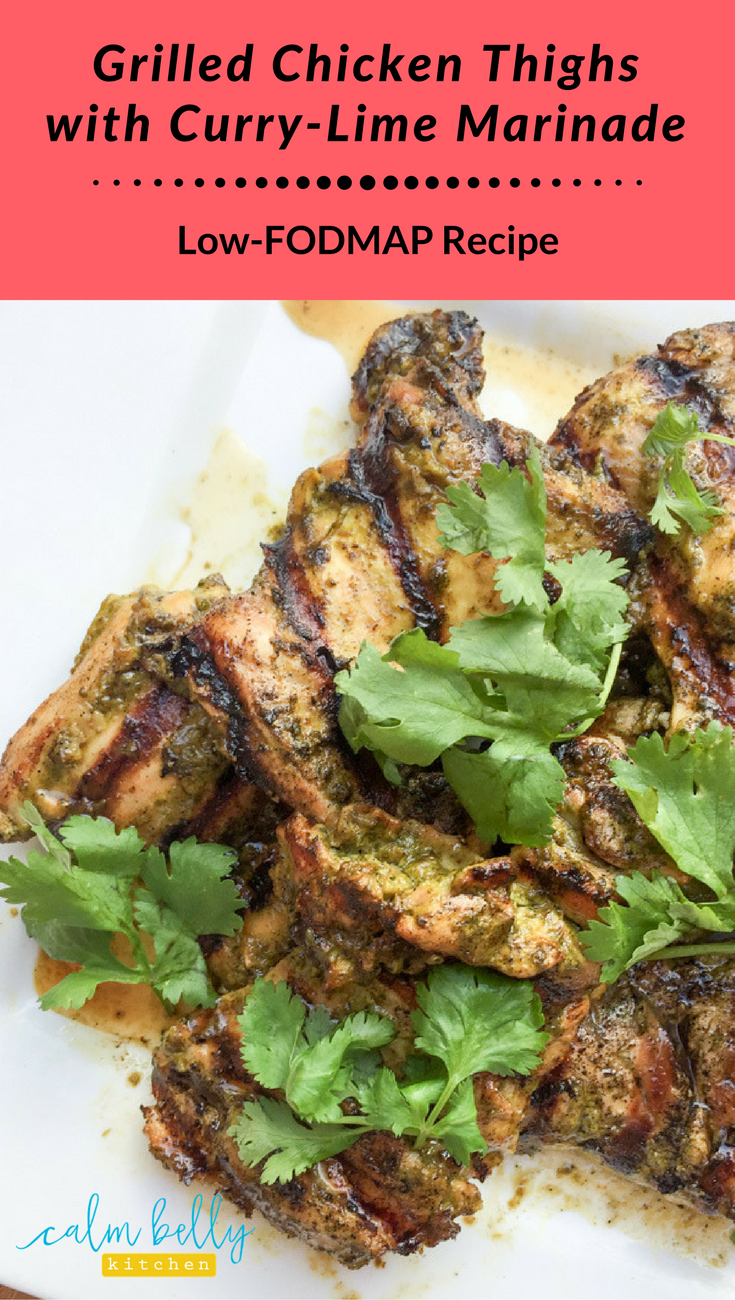 Everyone needs an easy low fodmap marinade, and this one has only 6 ingredients! Great with thighs but you can sub chicken breasts if you prefer. It's a quick, flavor-packed dinner for the grill that keeps your belly calm if you have IBS.