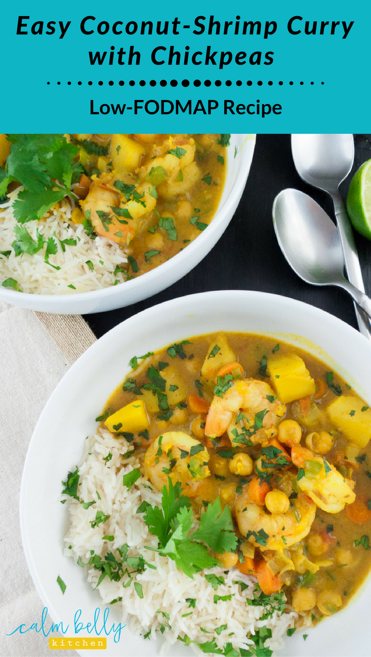 You don't 20 ingredients or 3 hours to make a DELICIOUS low fodmap curry with coconut milk, chickpeas, and potatoes. Vegetarian or vegan option is easy too! With cooking techniques and spices that maximize flavor, you will love this weeknight meal! #fodmap #IBS