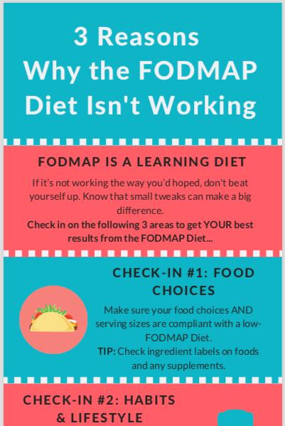 3 Reasons why the fodmap diet isn't working. This infographic describes the 3 key areas to check if you're not experiencing enough improvement in IBS symptoms in the fodmap elimination phase.