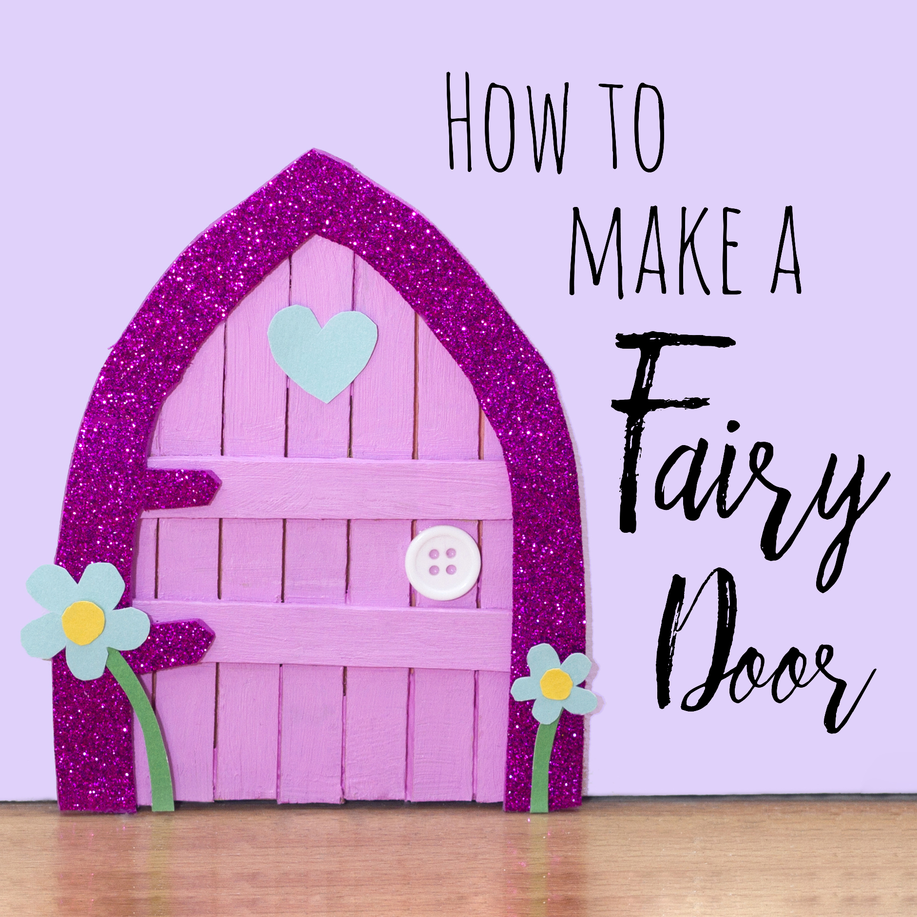 Make your own mini fairy door out of lolly sticks, card and foam. This is a great craft for a little girl and looks fun standing against the skirting board!