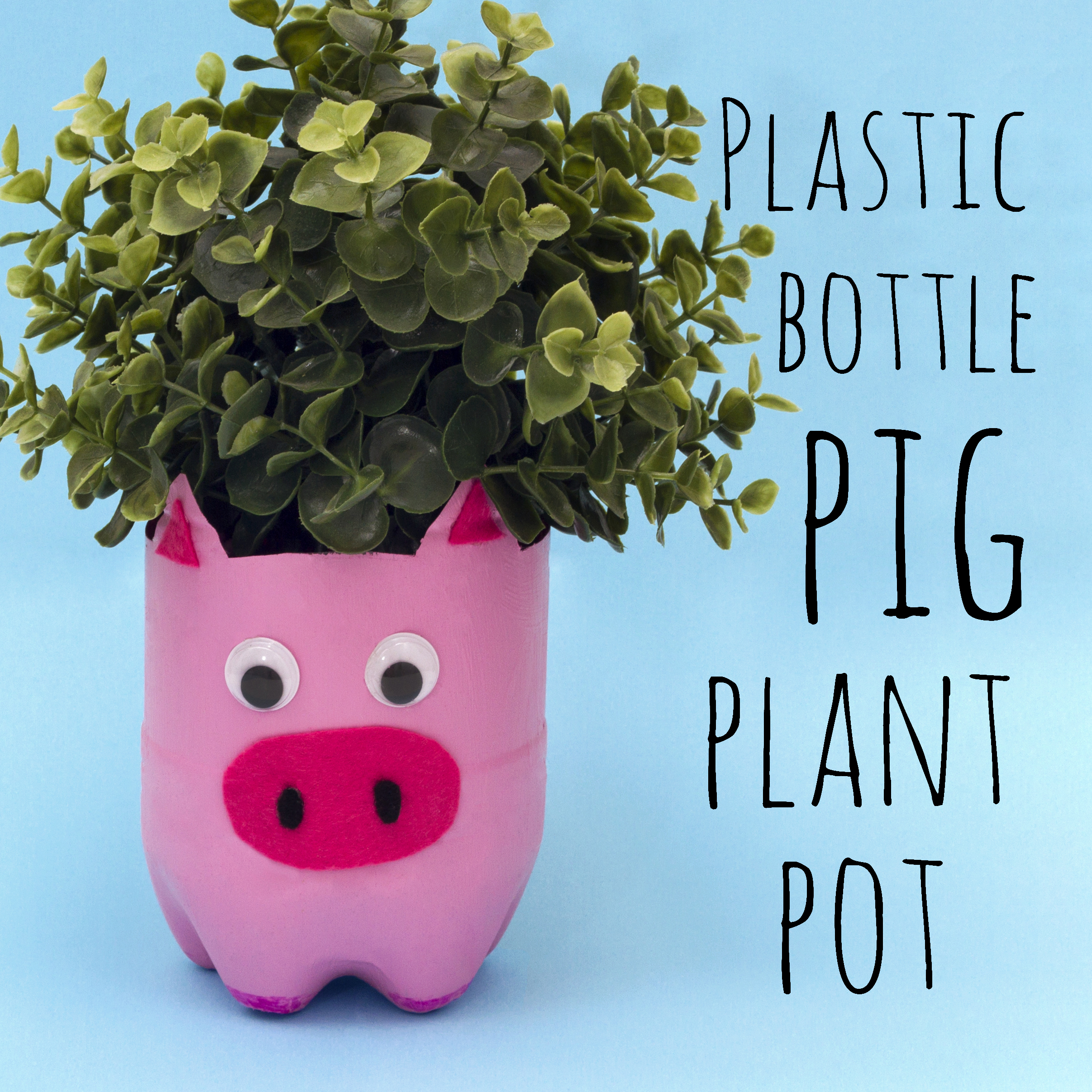 Make this cute pig plant pot out of a plastic bottle! It's such a simple craft for kids to make, you could even make all the farmyard animals!  There's a video at the end of this post showing you how I made this DIY plant pot!