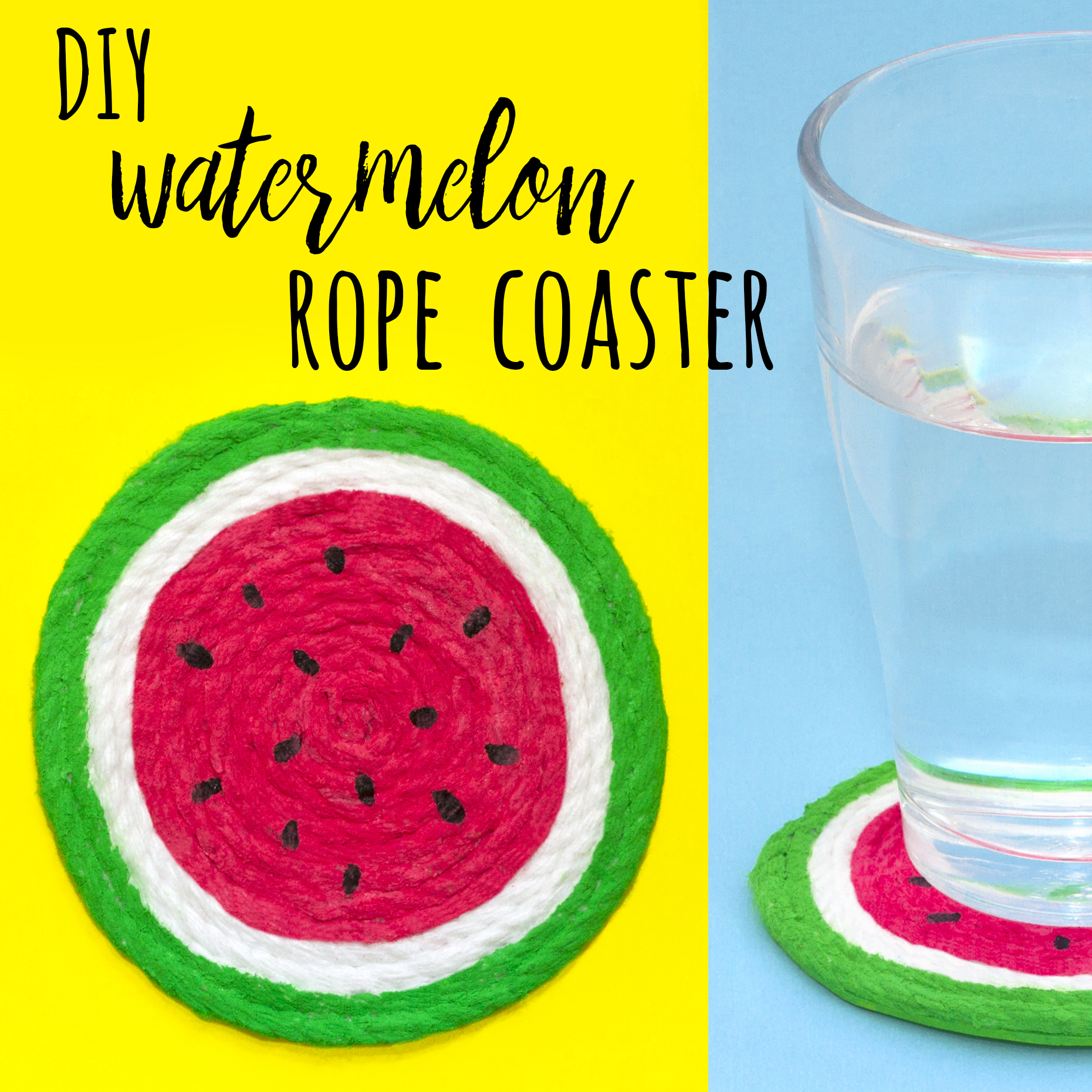 Make a watermelon coaster out of rope with this simple tutorial. You could even craft a whole set of different fruit coasters for a great addition to the home!