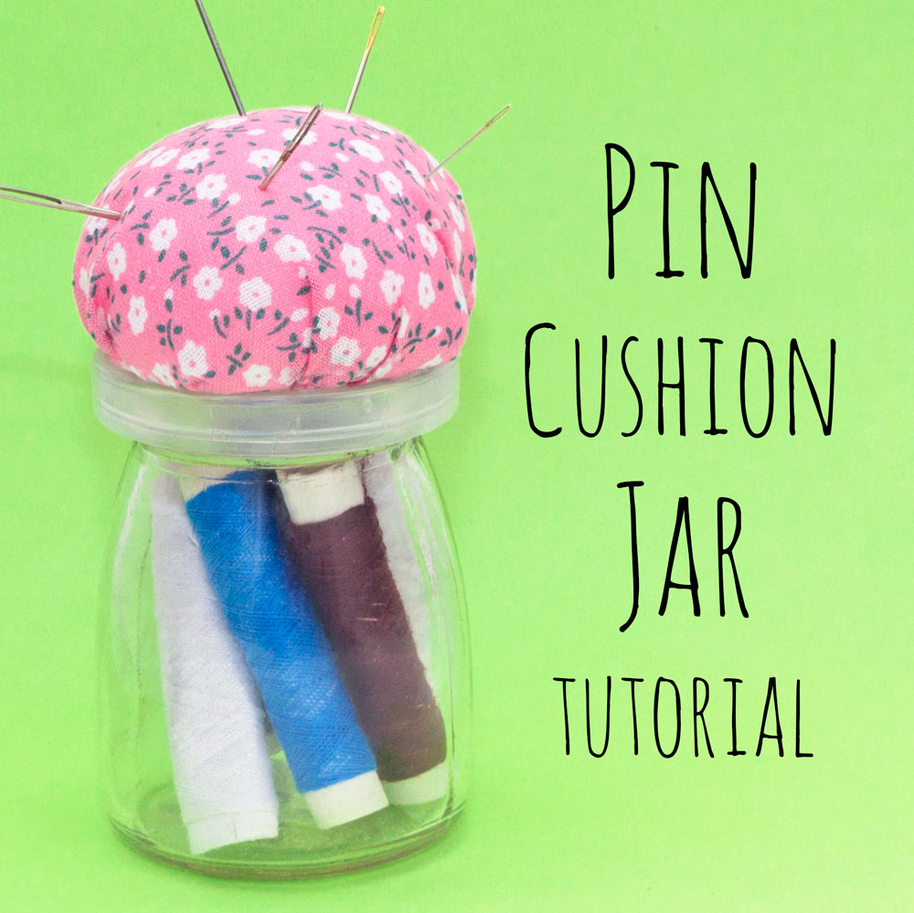 This DIY pin cushion jar is a fun and useful craft. You can store your thread, buttons etc in the jar and keep your needles and pins in the cushion on top! This is a simple craft to make with material left overs or fat quarters, you could even make a few and give them away as gifts!