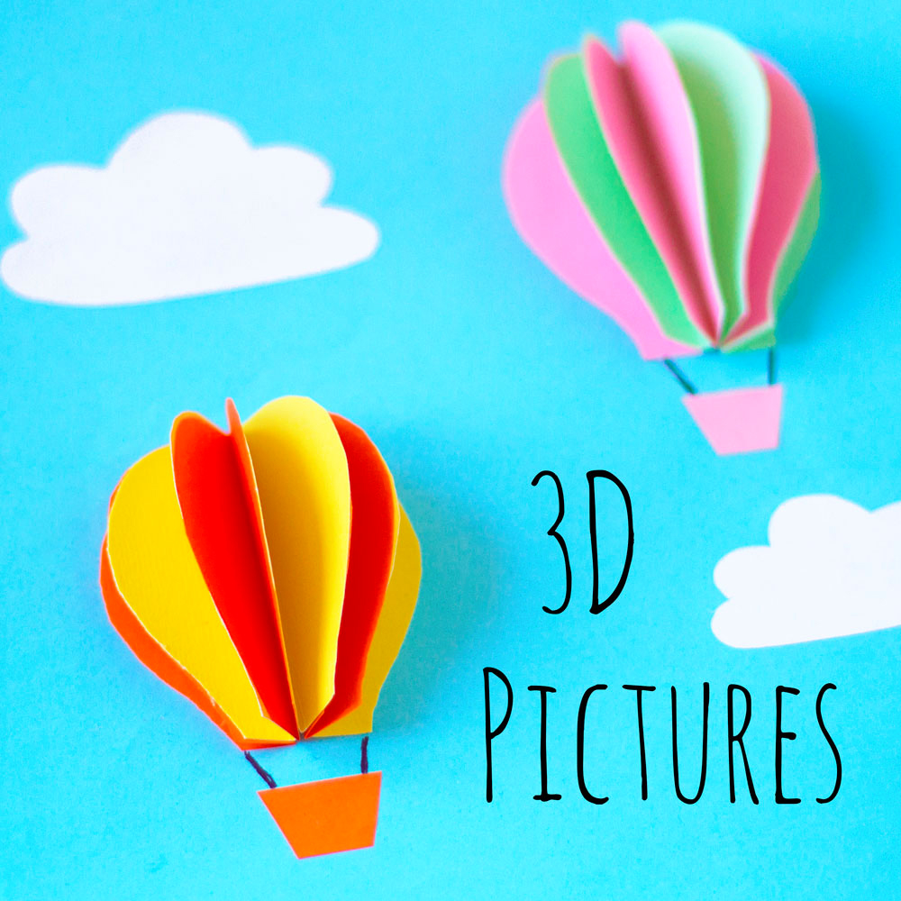 This DIY 3D hot air balloon picture craft is a great activity to do with the kids. It's really simple and creates a lovely piece of art for them to keep.  Pin the photo above to save this craft for later!
