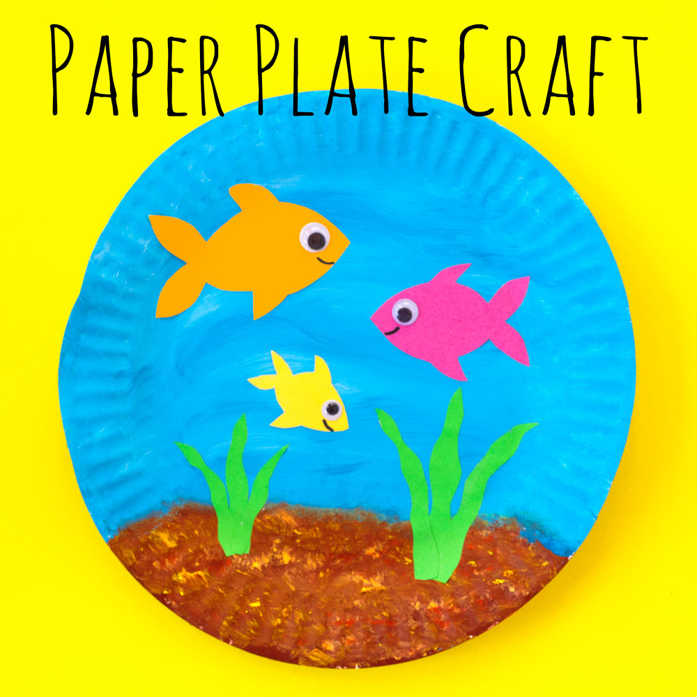 Make a fish bowl out of a paper plate. This simple craft is a great activity for all ages.
