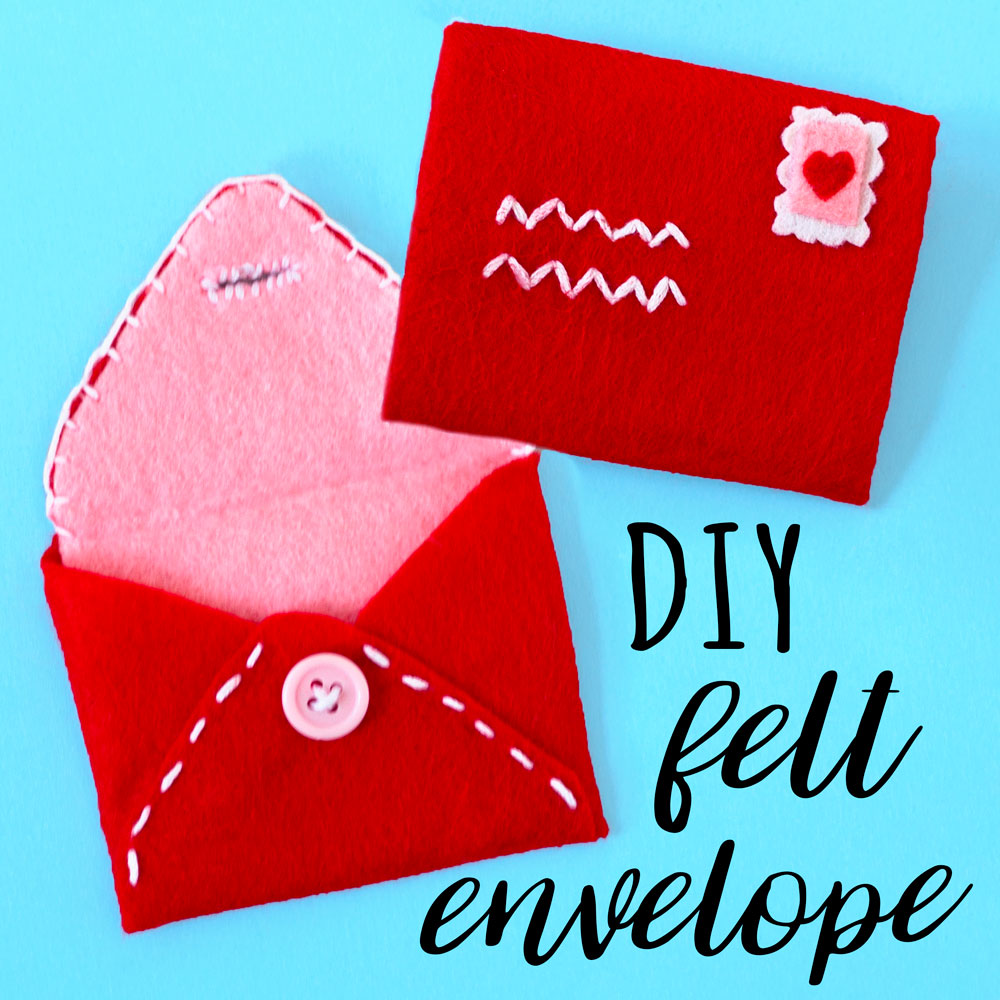 Sew a pretty envelope out of felt to make a special valentines gift for a loved one. This is also a lovely craft for DIY birthday gifts!