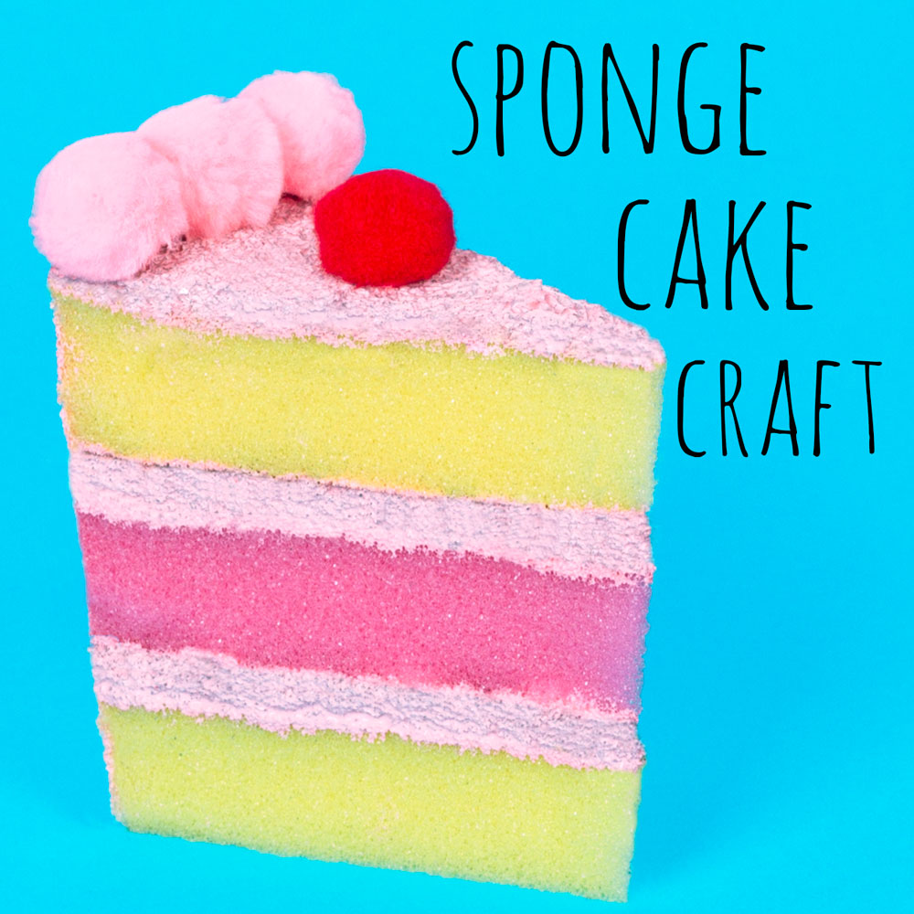 Kids can make their own toy cakes out of sponges! This cake craft is fun to do and can be used afterwards when playing.