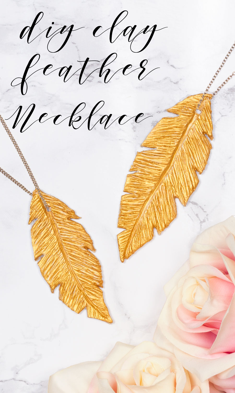 Step 3:  Once the clay is dry, cover the feathers in gold paint. Try not to paint it on too thickly as you don't want to lose the texture of the feather. Paint another coat if necessary and leave to dry.Finally, add your gold chain through the hole and your necklace is complete!  Subscribe to my  newsletter to receive fun craft ideas, offers and freebies!
