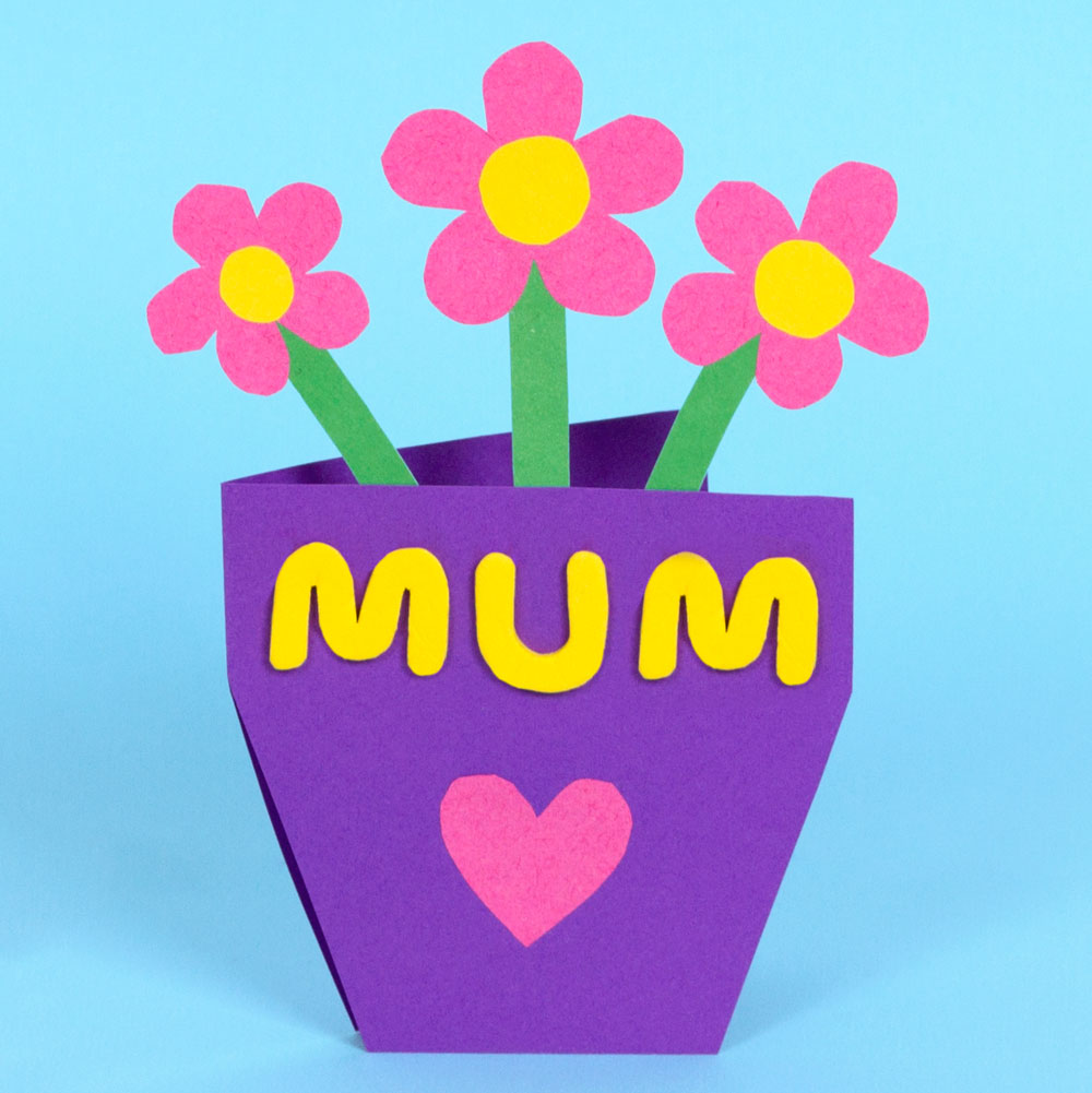 A lovely mothers day craft for the kids to do - they can make their own mothers day card. This card looks like a pot of flowers, but it opens up and you can write your own personal message inside.