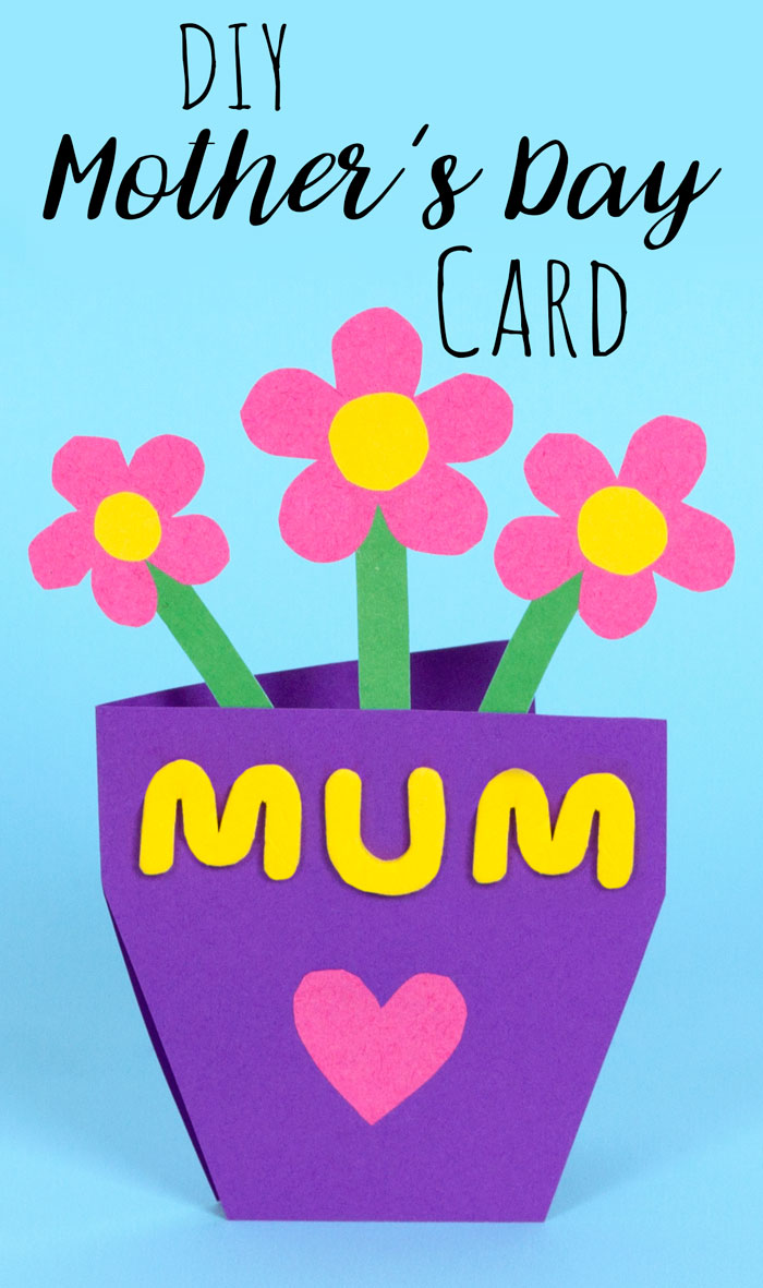 """Step 3  Cut out some flowers to add to your mothers day card. I decided to use pink card for my flowers. Then cut out some small circles from the yellow card and stick to the inside of your flower shapes. Once the glue has dried, stick the flowers to the green stalks.  Then spell out """"mum"""" with some foam stickers and stick to the front of the card plant pot. Add more decorations if you want!  Subscribe to my  newsletter to receive fun craft ideas and freebies!"""