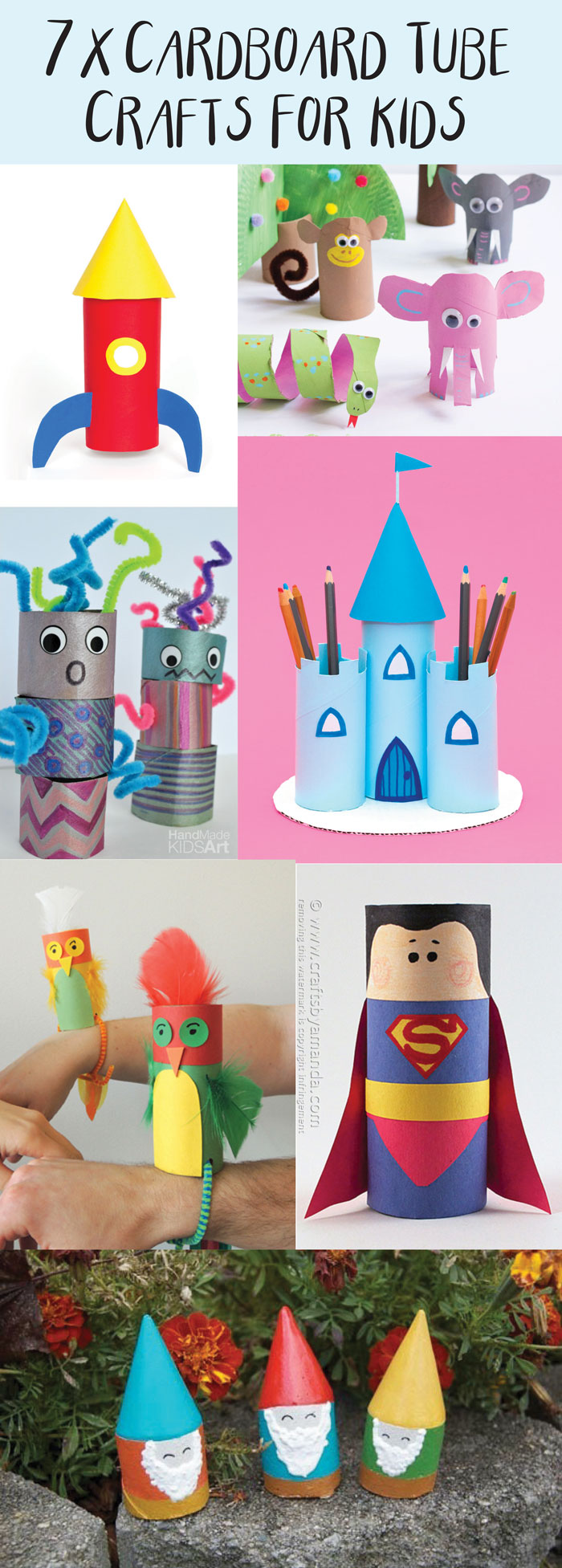 7 great kids craft ideas to make from cardboard tubes! I love crafts made with toilet roll tubes as they are so fun and simple and everyone has them already in their homes!