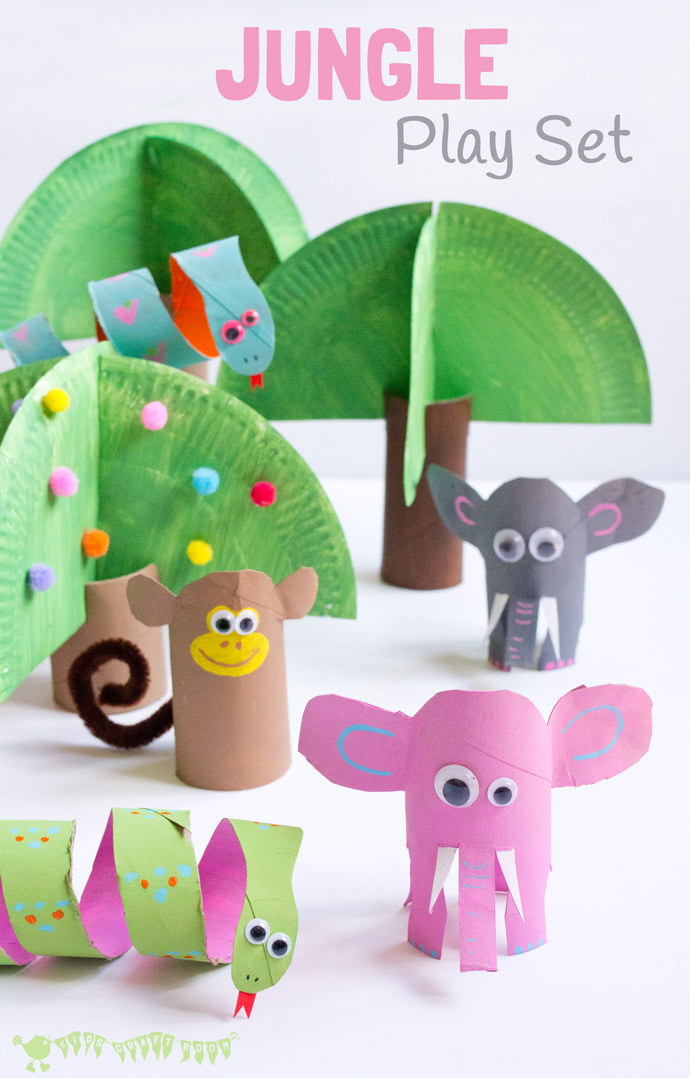 Make a whole jungle of animals out of toilet paper roll tubes with this fun craft idea from  Kids Craft Room .