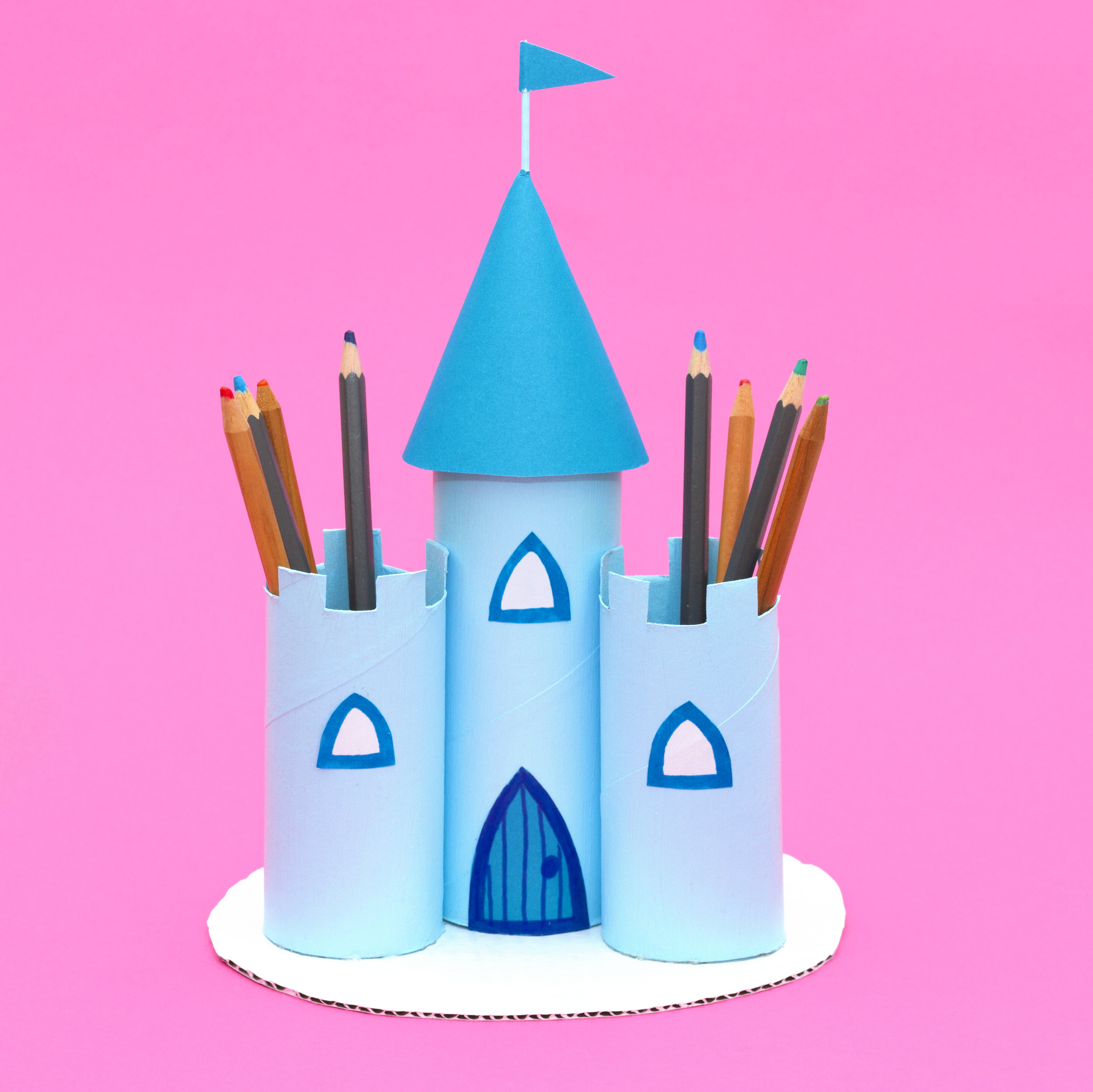 Use cardboard tubes to craft a pretty princess castle to store your pens and pencils in.