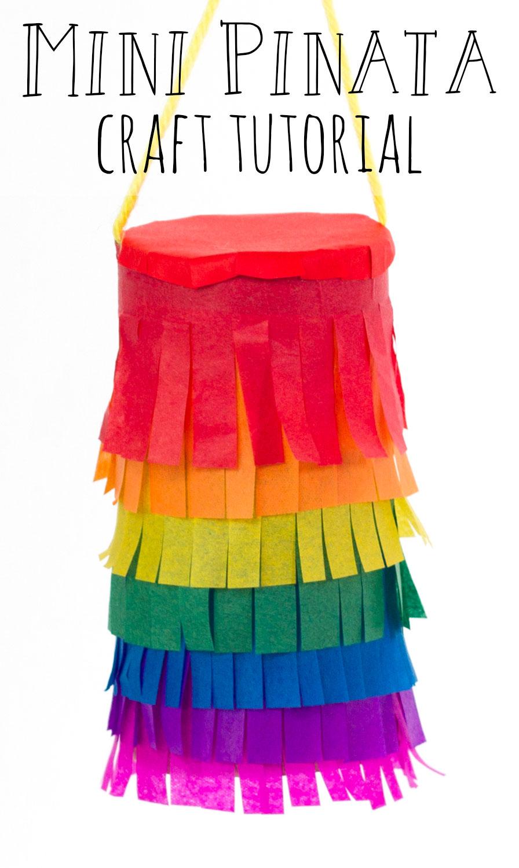 mini rainbow piñata craft