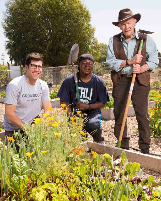 Pictured: Brad Pregerson co-founder of GrowGood, Farmhand James Washington, and Judge Harry Pregerson.
