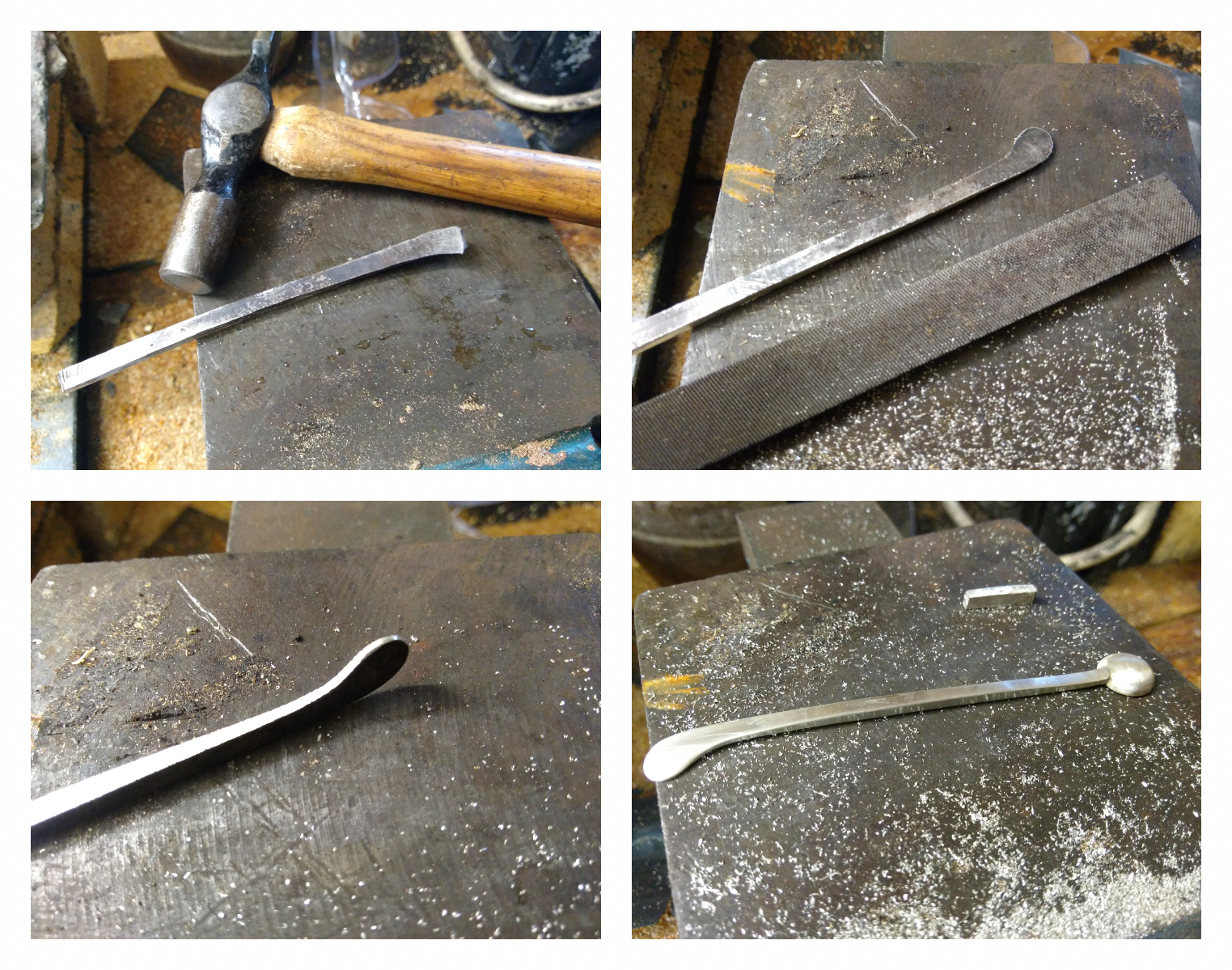 Sterling silver - Here is a quick snap shot of the process of forging the silver keys. The silver is heated red hot and is then allowed to cool. This anneals (softens) the metal before it is beaten and hammered to shape in a process called forging. While forging brings the key to shape it also has the benefit of imparting strength back into the metal.