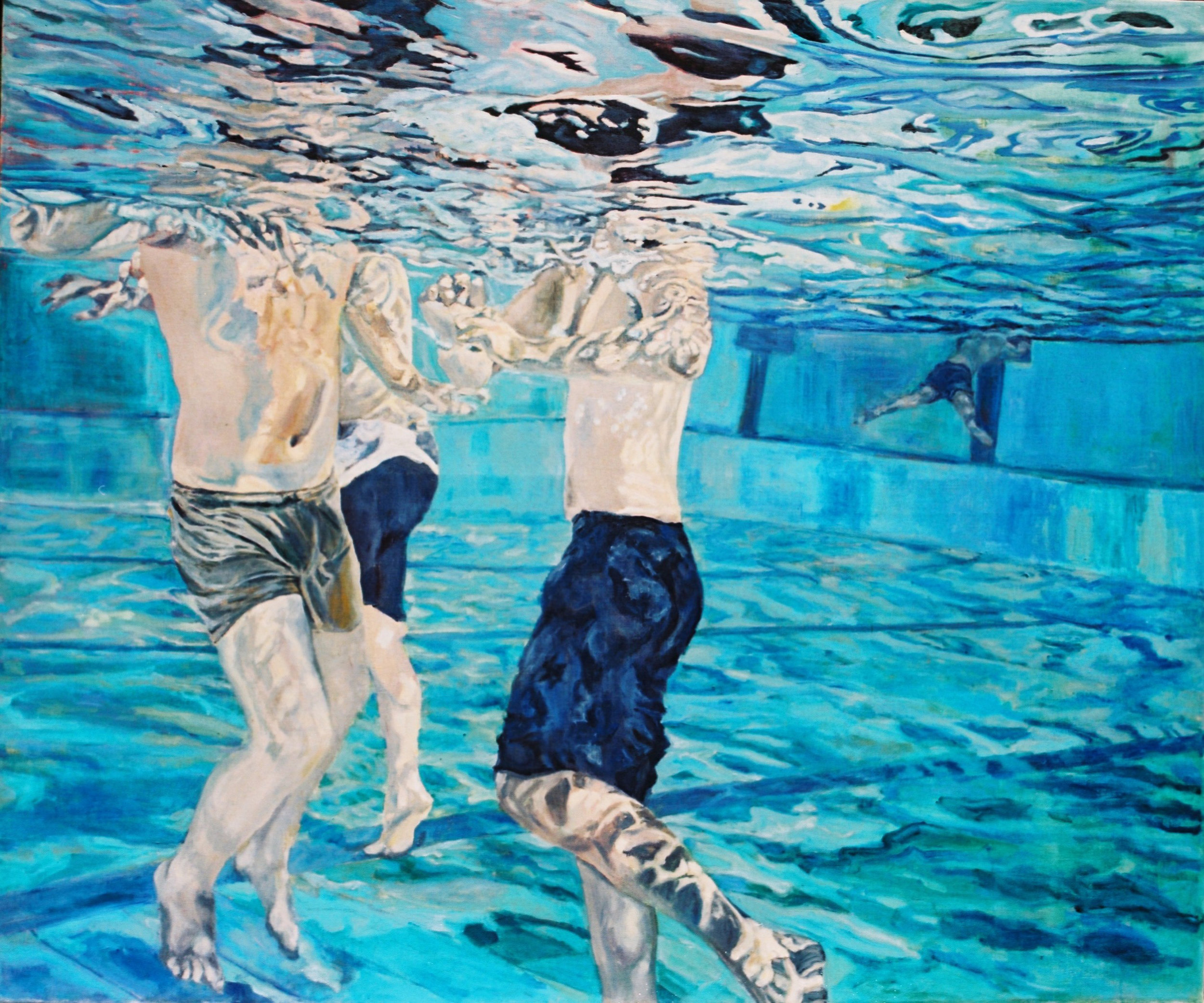 2009  waterboys 110x130cm oil on canvas.jpg Debbie Kampel  דבי קמפל, ילדי מים, שמן על בד.jpg