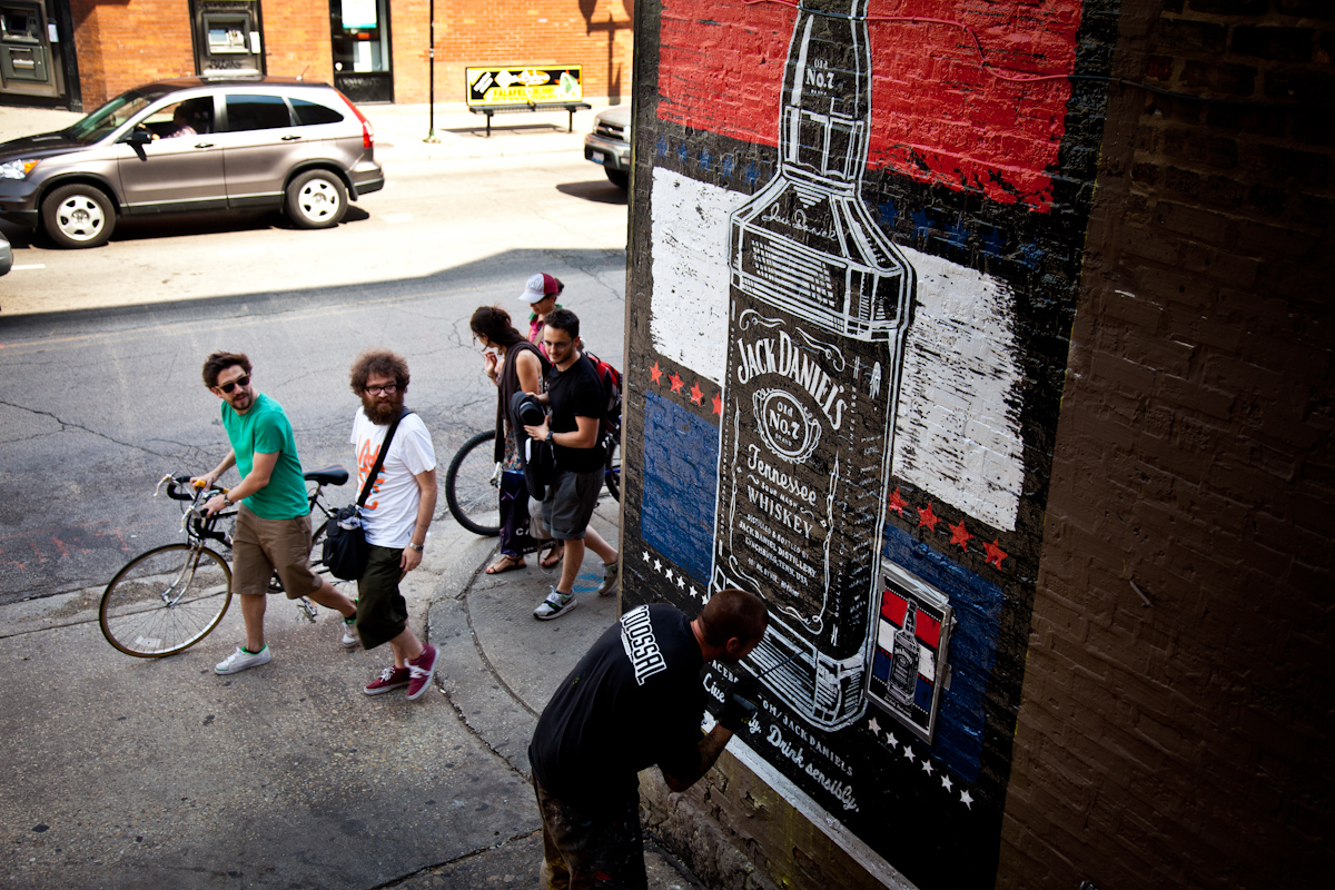The letterpress poster art was recreated as a series of 20 hand-painted wall murals across the U.S.